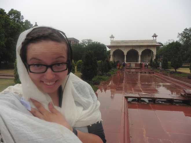 Braving the elements at the Red Fort in Delhi